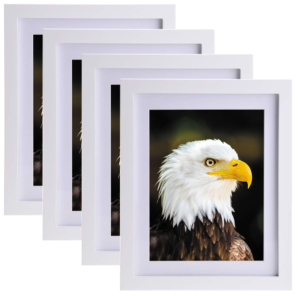 Solid Wood Picture Frames 8x10 - Hang on Wall Stand Hook Accessory Fashion Wooden Frame Stand Pictures Photos Landscape Family Portrait 8x10 Picture Frame Without Mat/ 6x8 Frame with Mat 4 Pack White by JAYONG