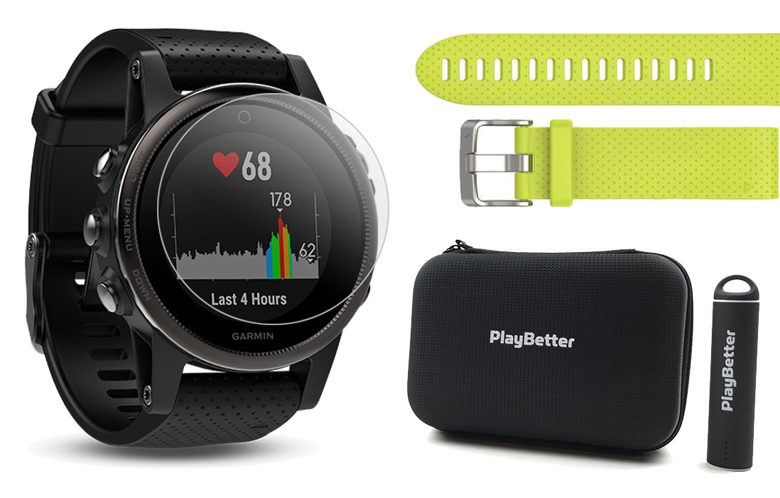 Garmin fenix 5S Sapphire (Black with Black Band) Power Bundle | Includes Extra Band (Amp Yellow), HD Glass Screen Protector, PlayBetter Hard Case & PlayBetter Portable Charger | Multi-Sport GPS Watch