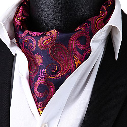 HISDERN Men's Ascot Paisley Floral Jacquard Woven Gift Cravat Tie and Pocket Square Set Pink by HISDERN (Image #3)