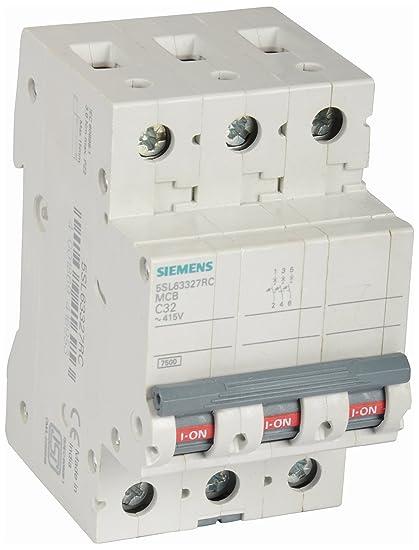 Siemens 32A 3 Pole Miniature Circuit Breaker (White, 1-Piece ...