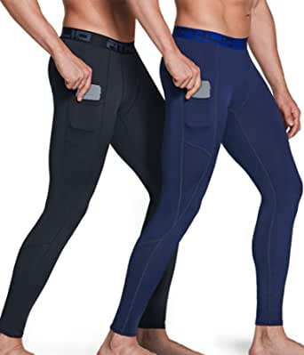 ATHLIO Men's (Pack of 1, 2) Compression Pants Running Tights Workout Leggings, Cool Dry Technical Sports Baselayer BLP