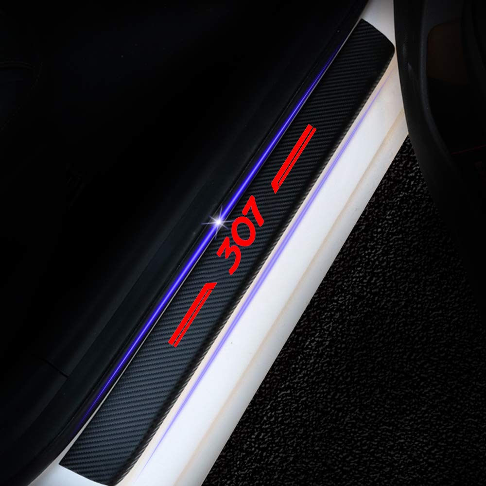 For 307 4D M Car Pedal Covers Door Sill Protectors Entry Guard Scuff Plate Trims Anti-Scratch Reflective Carbon Fiber Stickers Auto Accessories Exterior Styling 4Pcs Red