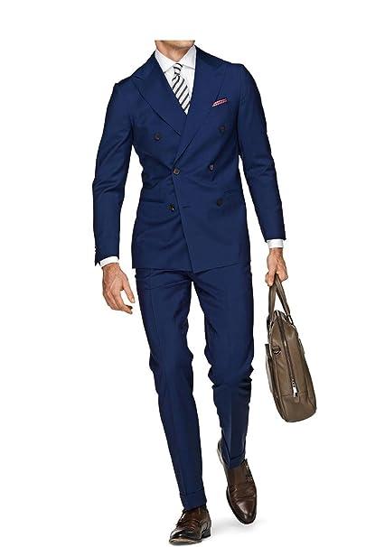 Mens White Blue 2 Piece Wedding Suits for Men Double ...