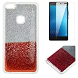 For Huawei P10 Lite Glitter Case with Screen Protector,OYIME Luxury Shiny Design Ultra Thin Slim Fit Soft Silicone Rubber Bumper Scratch Resistant Protective Back Cover - Red