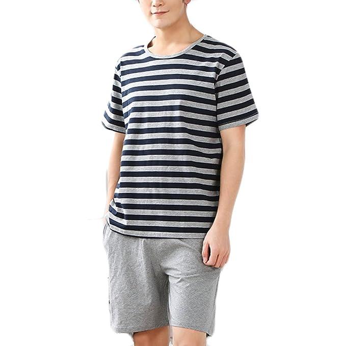 Hombre Pijama de Verano Corta Algodón Pijamas Conjunto Manga Corta Pijamas para Caballero Rayas # L