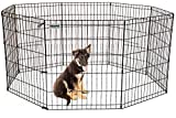 DazzPet Dog Pen Puppy Playpen   30'' Height Indoor Outdoor Exercise Outside Play Yard   Pet Small Animal Puppies Portable Foldable Fence Enclosures   8 Panel Metal Wire, Black