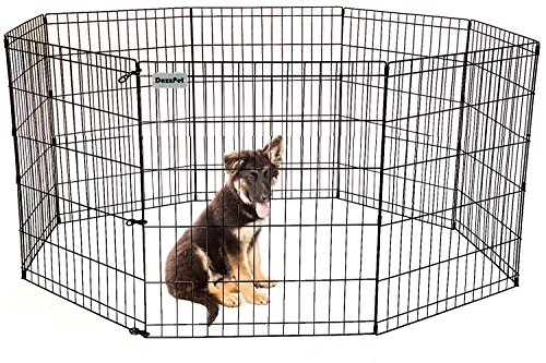 Black Pen Exercise Ultimate (DazzPet Dog Pen Puppy Playpen | 30