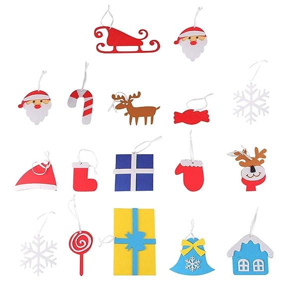Beetest 3D DIY Fieltro Árbol de Navidad con 18 unids Niño Adorable Árbol de Navidad Adornos Colgantes para Niños Navidad Decoraciones para El Hogar: ...