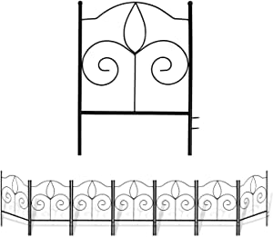 Decorative Garden Fence For Landscaping, 17 in x 13 in, 7.6 ft Total, 7 Black Panels, Rust Proof Metal Movable Wire Border Picket Folding Decor Garden Edging Fences for Flower Bed & Pet Barrier