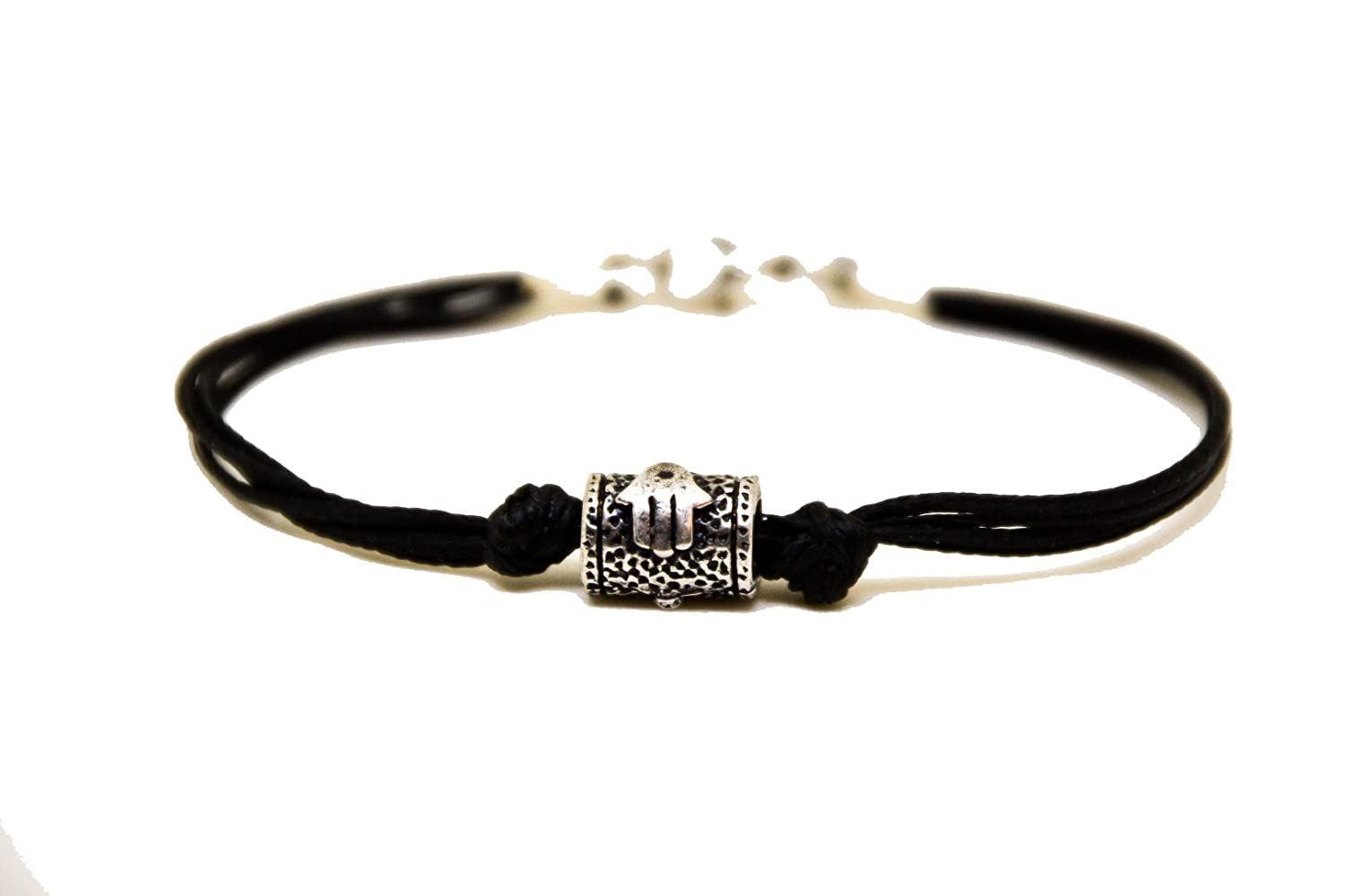 Hamsa bracelet for men, men's bracelet with a silver tube bead charm and a black cord, against evil eye, black bracelet for men, lucky charm