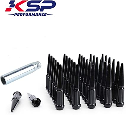 1 Year Warranty KSP 32 pcs Thread Pitch 9//16-18 Over Length 4.4 Closed End Spike Solid Metal Lug Nuts Chrome with 1 Socket Key for After Market Wheel 9//16 Spike Lug Nuts