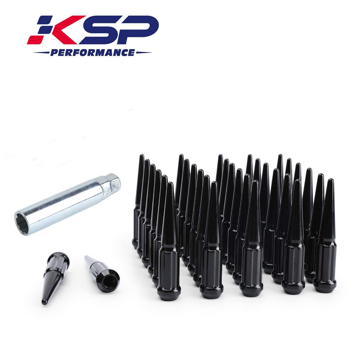 KSP 6 Spline Spike Lug Nuts, 32 pcs Thread Pitch 9/16-18 Over Length 4.4'' Closed End Spike Solid Metal Lug Nuts Chrome with 1 Socket Key, 1 Year Warranty