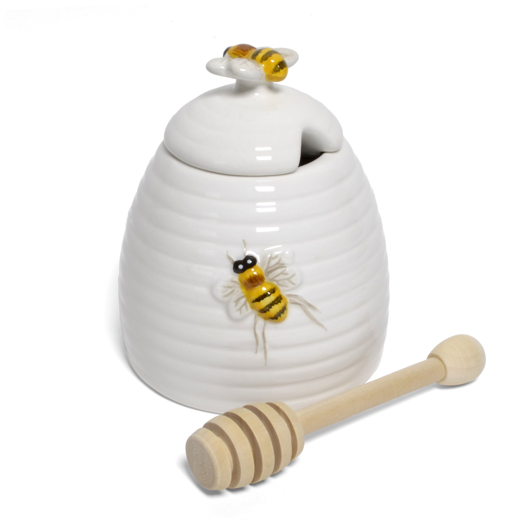 Mary Lake-Thompson Ceramic Beehive Honey Pot with Dipper by Mary Lake Thompson