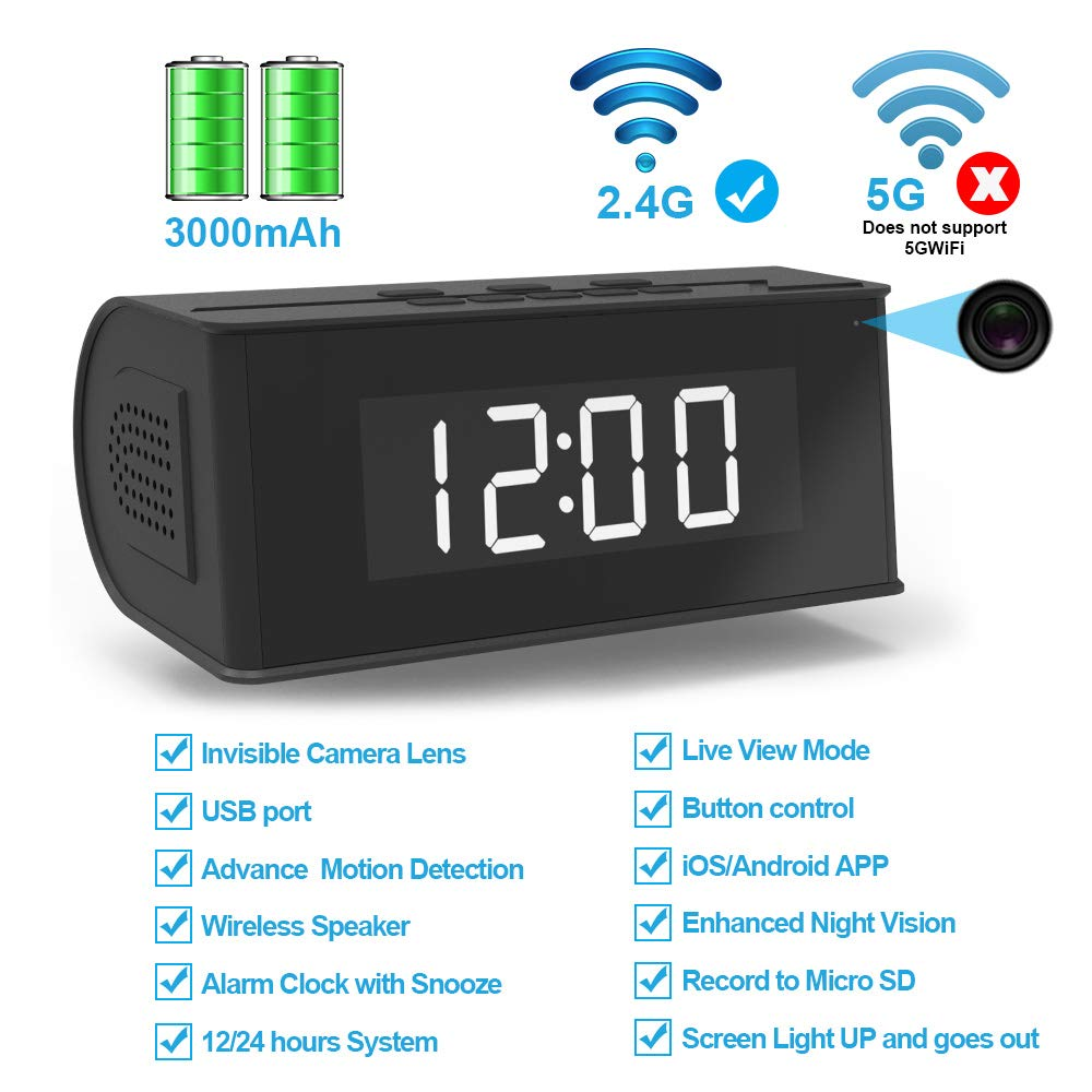 Hidden Camera WiFi Alarm Clock,FUVISION Wireless Speaker Covert Camera with Night Vision,Motion Detection Nanny Camera,SD Card Record,App Live Control and Viewing Security Camera for Home and Office by FUVISION