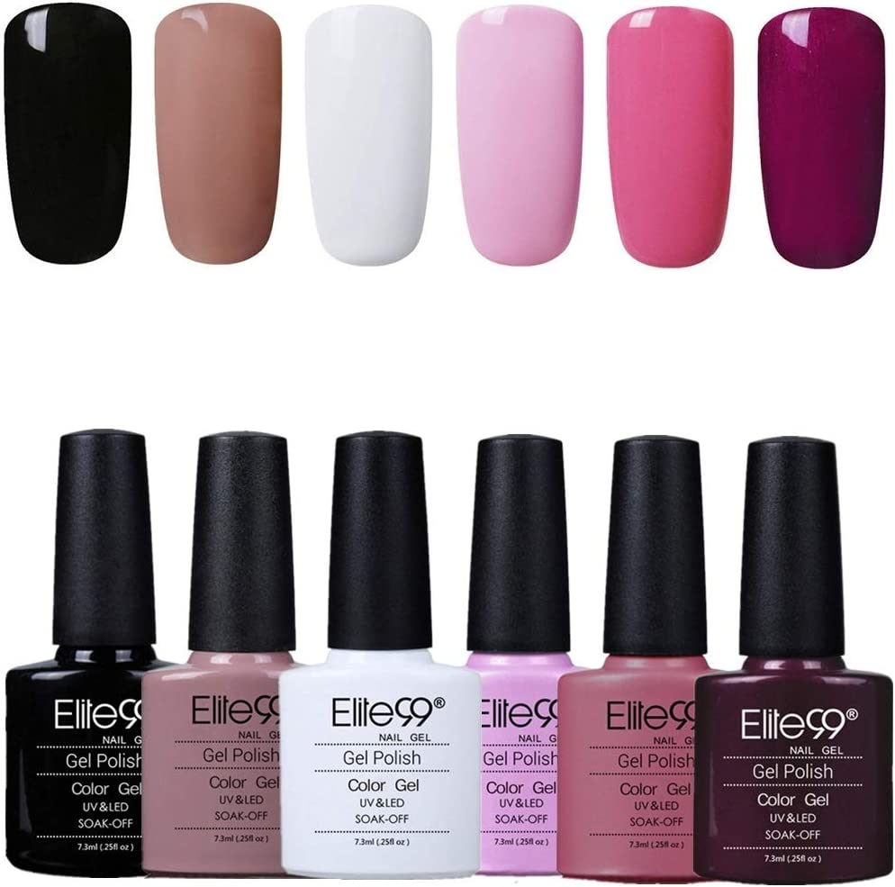 Elite99 Esmaltes Semipermanentes de Uñas en Gel UV LED, 6pcs Kit de Esmaltes de Uñas en Gel Soak Off 001: Amazon.es: Belleza
