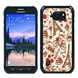 France Paris Love City Eiffel Tower Floral Pattern Black Shell Case for Samsung Galaxy S6 Active,Luxury Cover