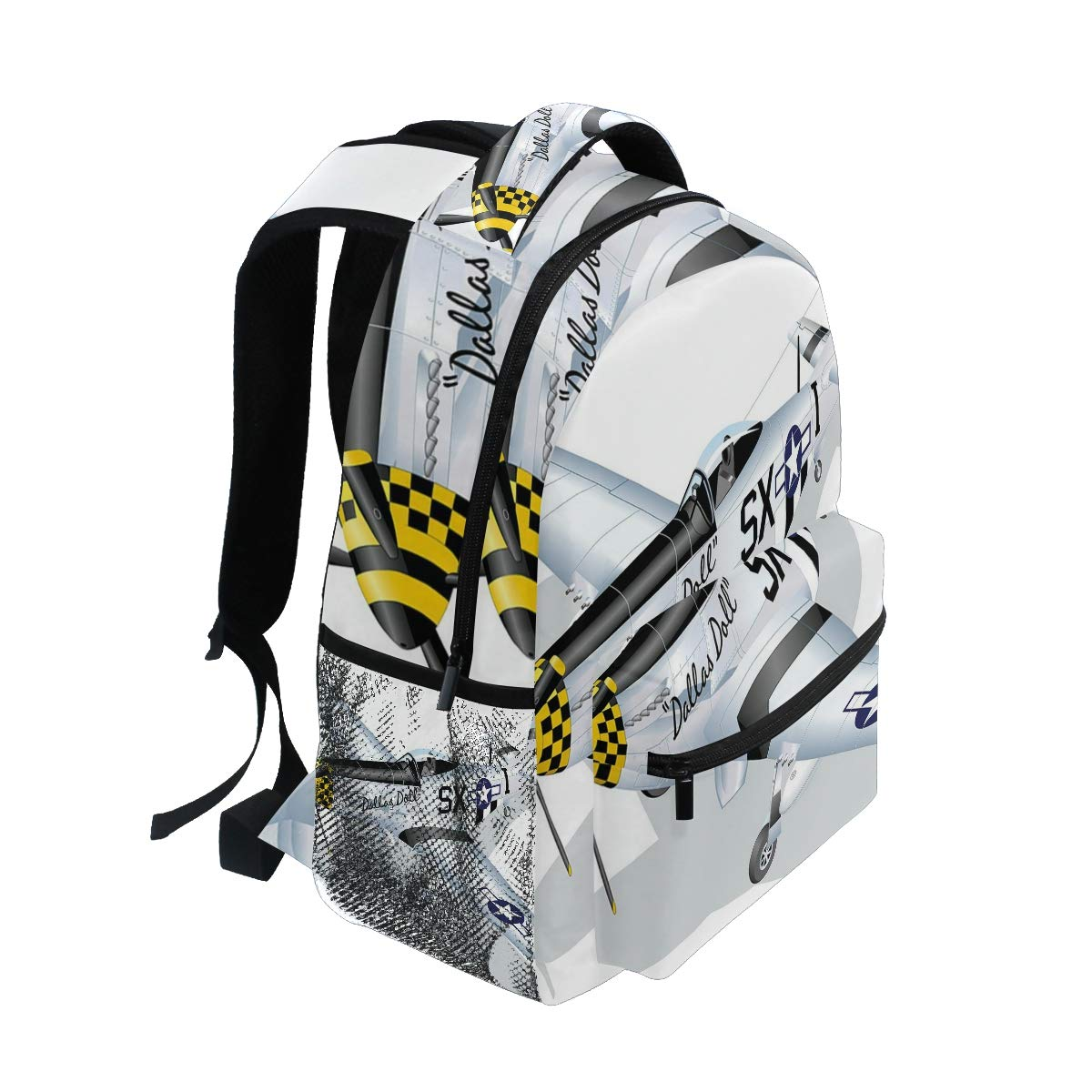 Amazon.com: CANCAKA P-51 Dallas Doll Detailed Illustration American Air Force Classic Plane Lightweight School Backpack Students College Bag Travel Hiking ...