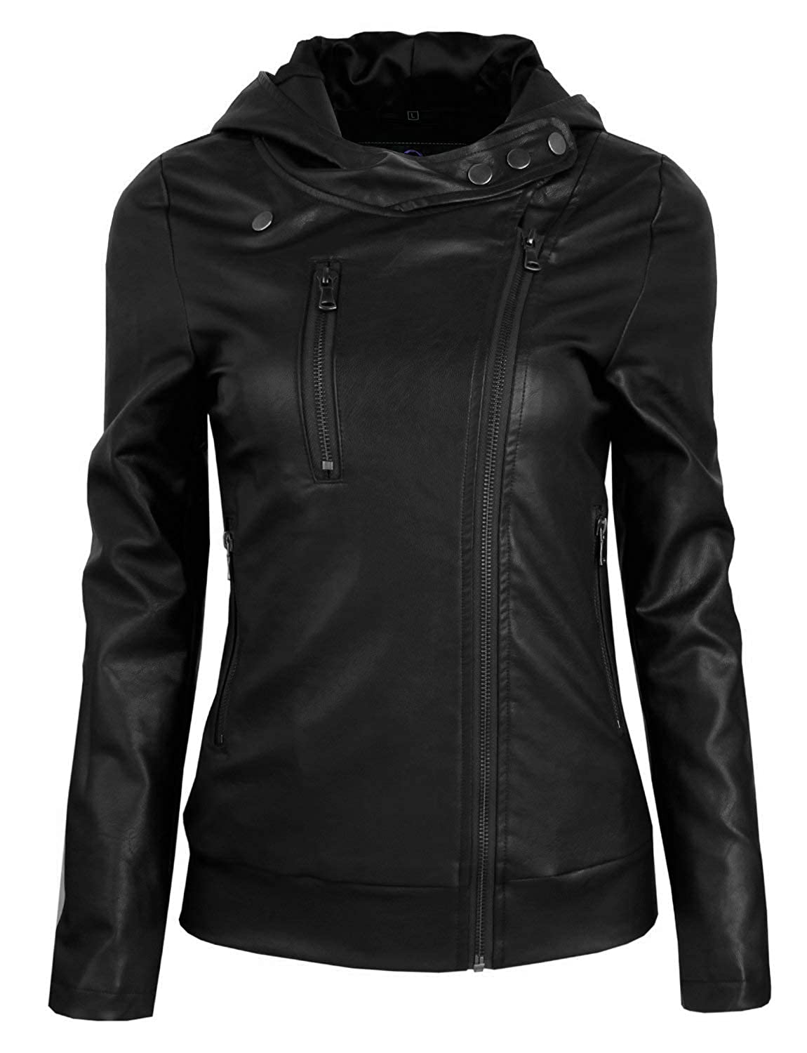Chase Squad Designer Faux Leather Jackets Women  Notch Collar Jacket with Hoodie Black