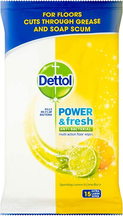 Amazon Com Dettol Clean Fresh Multipurpose Lime Extra Large Wipes 15 S Health Personal Care