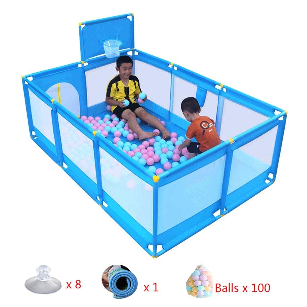 ベビーサークル 特大 ベビープレイペン ドア/マットレス/ボール付き、 屋内屋外 幼児シューティングフェンス、 10パネルプレイヤード ボーイ - 青   B07LDR7K83