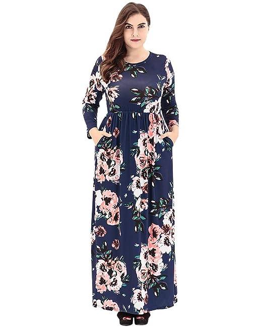 Las Mujeres de Impresión Floral de Manga Larga Vestido Cuello Redondo Vintage Boho Verano para Noche Fiesta Playa Fiesta Cintura Alta Largos Vestidos: ...