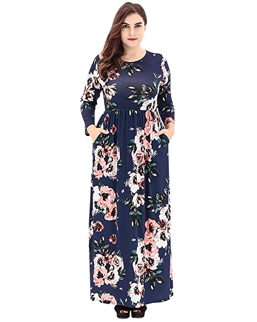 Las Mujeres de Impresión Floral de Manga Larga Vestido Cuello Redondo Vintage Boho Verano para Noche
