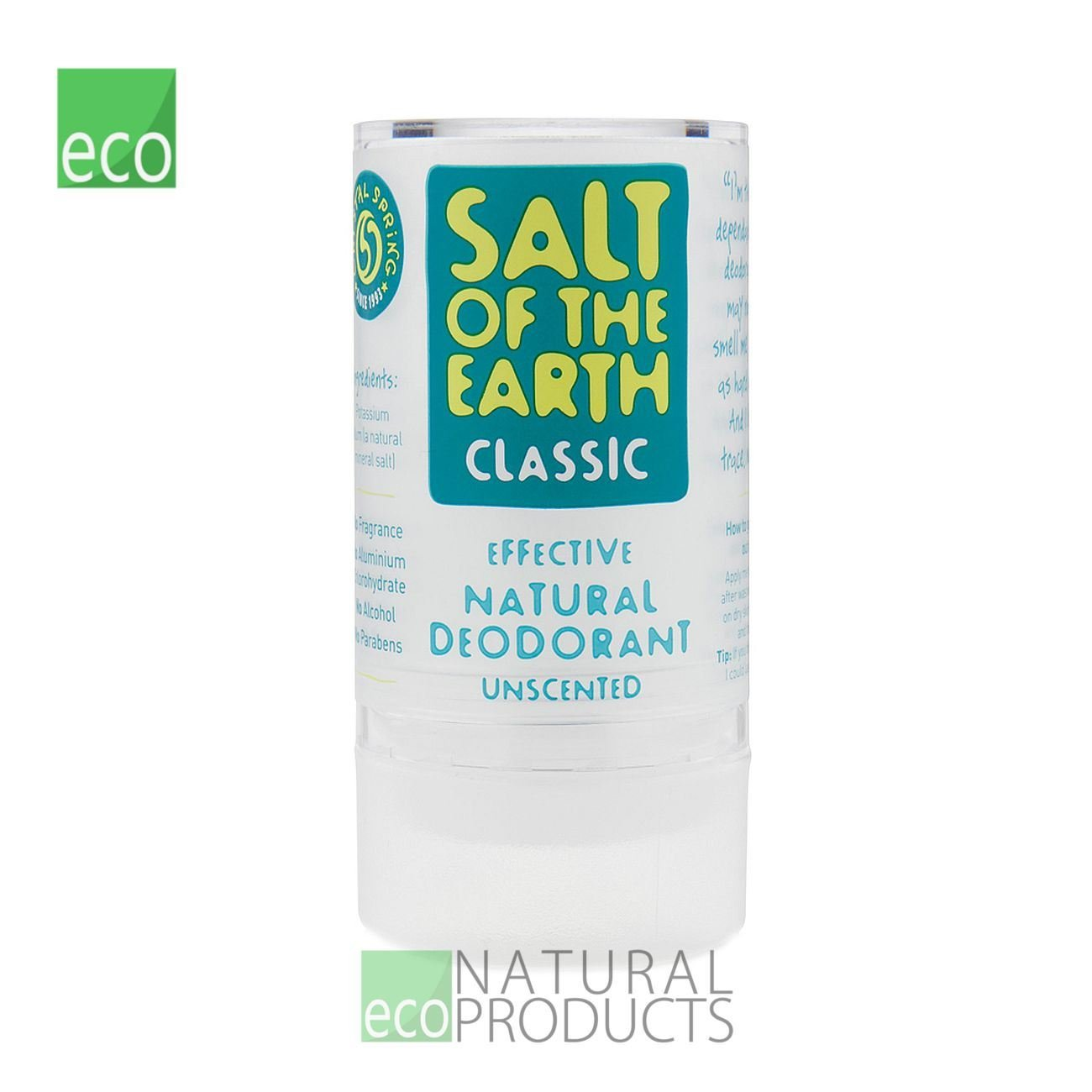 The Healthy Option Crystal Spring Salt Of The Earth Deodorant.