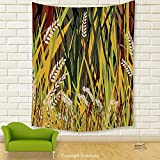 Vipsung House Decor Tapestry_Nature Reeds Dried Leaves Wheat River Wild Plant Forest Farm Country Life Art Print Image Multicolor_Wall Hanging For Bedroom Living Room Dorm