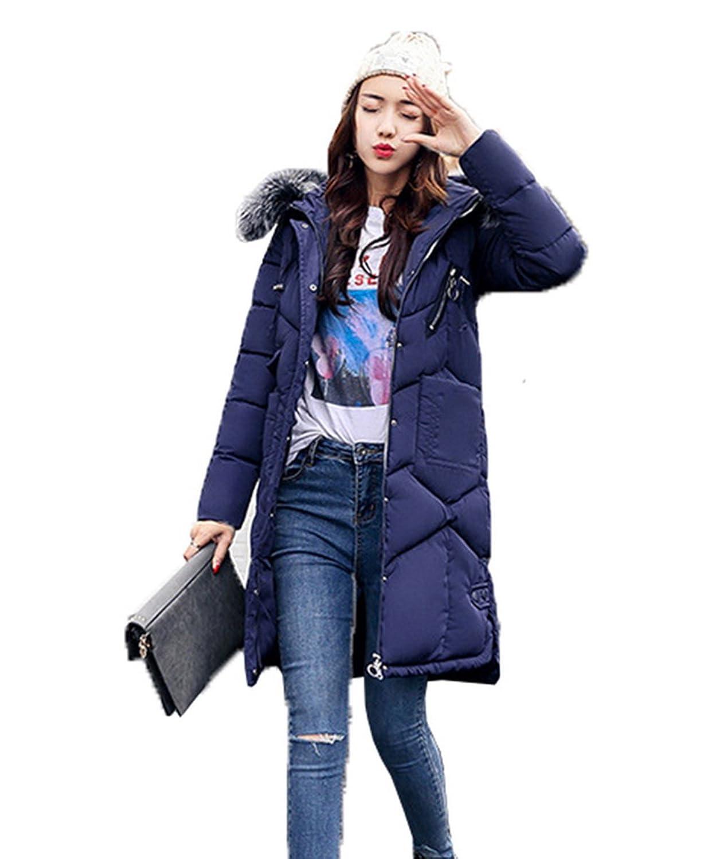 Smile YKK Fashion Damen Kunstpelz Kapuze Warme Steppjacke Winterjacken