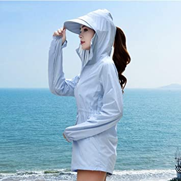 S-Chihir UPF50 + de protección Solar Ropa de protección Solar Camisa de Manga Larga, for Mujer UV de protección Solar Ropa Suelta Las Mujeres con Capucha largas Protector Solar Camisa: Amazon.es: Deportes