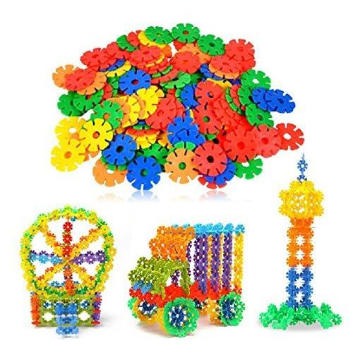 Channeltoys - Jeux de construction neige flocon 100 pcs, Puzzle cubes de construction jouet éducatif pour les enfants