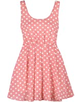 Sweet Color Fashion Dots Pleated Halterneck Tiny Dress With Back Belt