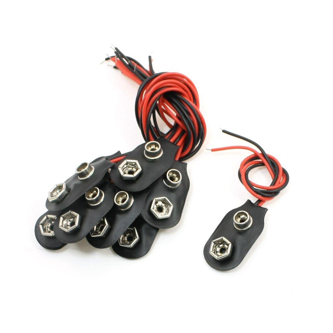 sourcing map 10 Pz 15cm Doppio Fili conduttori 9V Batterie Clip Connettori Supporto Nero Rosso