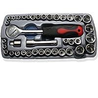 """NUZAMAS [Upgraded] 40pcs Socket Wrench Socket Set 1/4"""" 3/8"""" Reversible Ratchet Handle DR Drive Ratchet Wrench BitsTool with Case"""