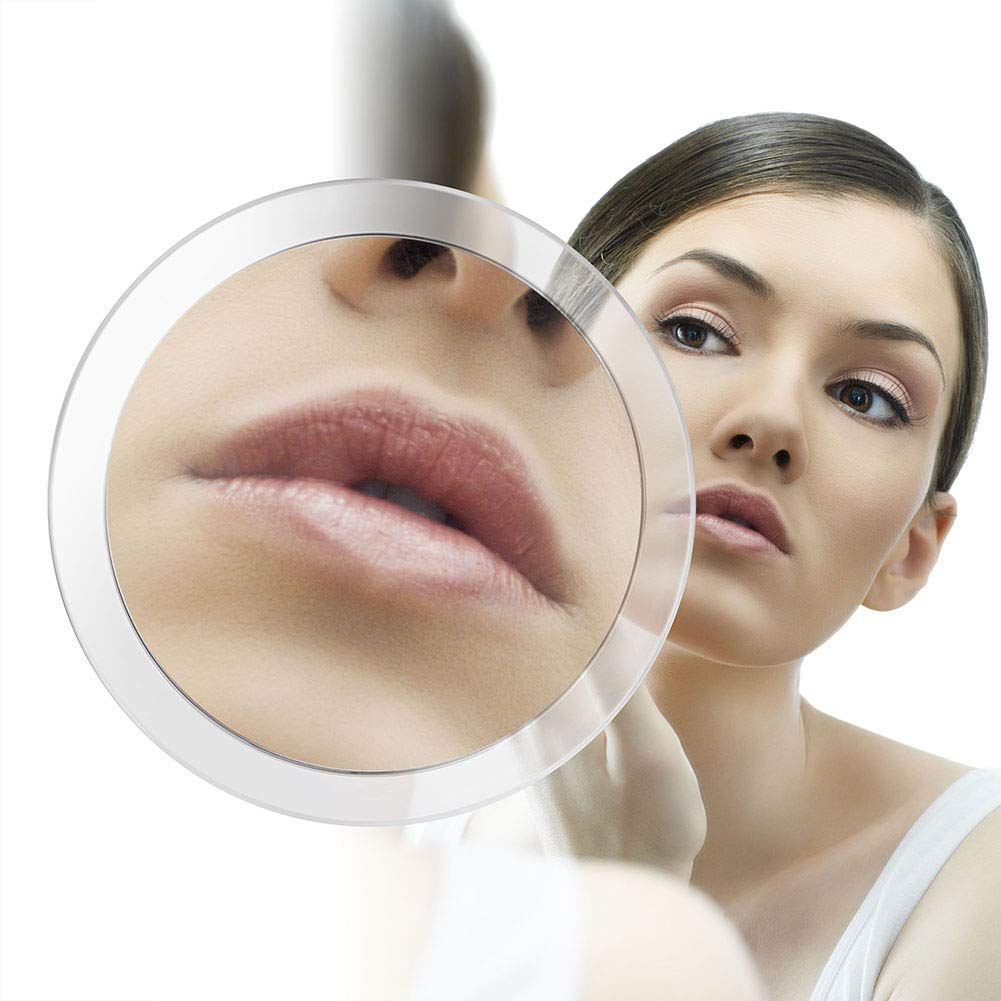 Fasipy Magnifying Mirror Suction Cup - Round Vanity Mirror with 15X Magnification, Clear & Transparent for Travel & Bathroom