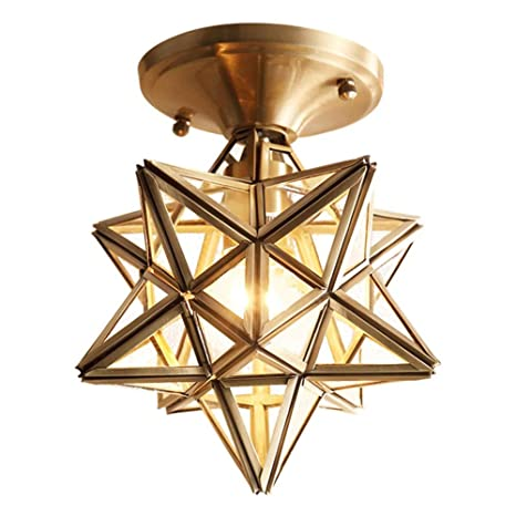 Topdeng Clear Glass Moravian Star Ceiling Light 8 E26