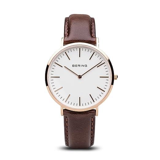 BERING Reloj Analógico para Hombre de Cuarzo con Correa en Cuero 13738-564: Amazon.es: Relojes