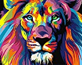 DIY Digital Canvas Oil Painting Gift for Adults Kids Paint by Number Kits Home Decorations- Colorful Lions 16*20 inch