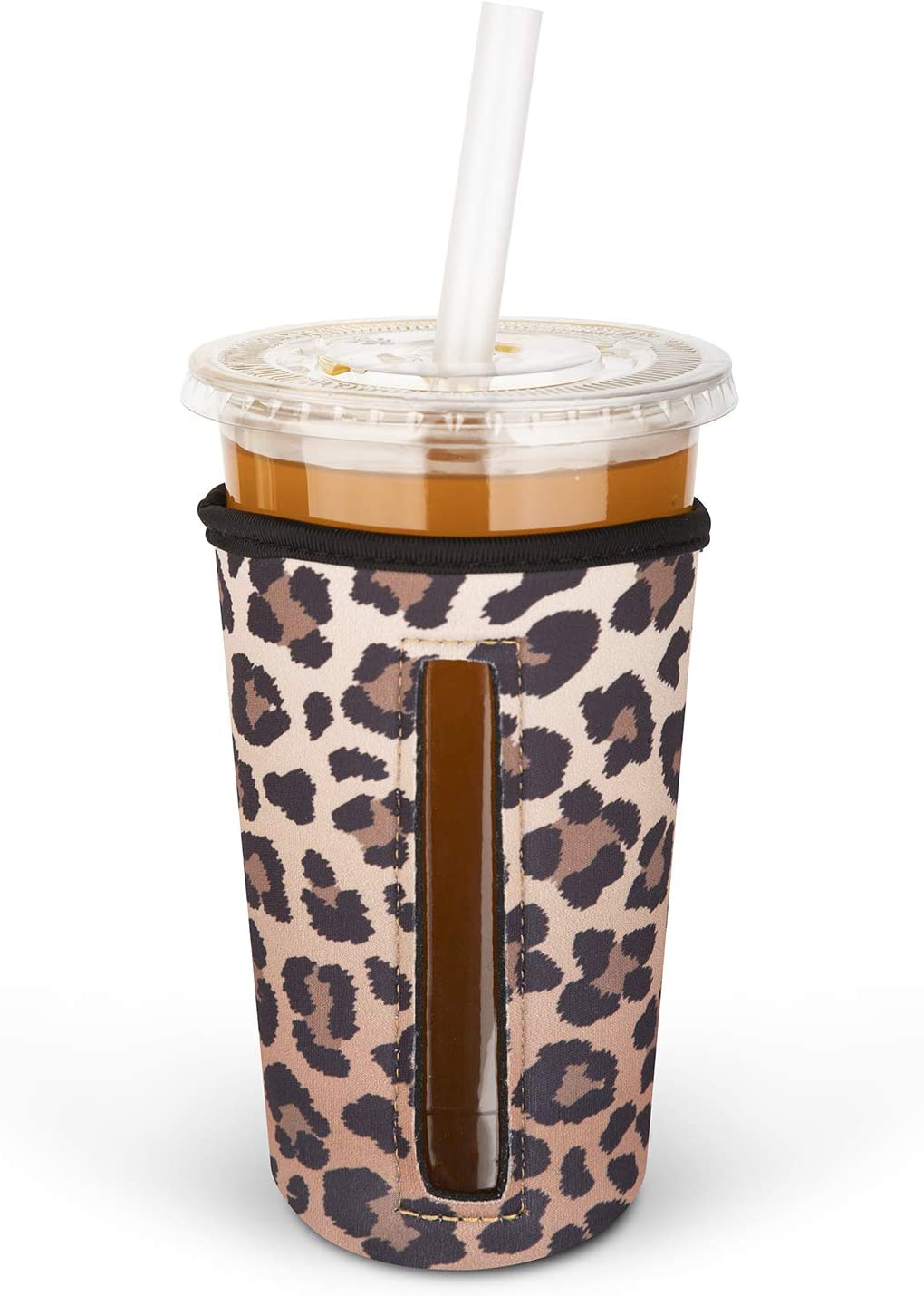 MEETI Reusable Iced Coffee Cup Insulator Sleeve for Cold Beverages, Neoprene Cup Holder Compatible with Starbucks, McDonald's Coffee, Dunkin Donuts, Tim Hortons and More, Large, Multicolor1