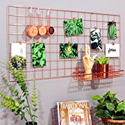 Simmer Stone Rose Gold Wall Grid Panel for Photo Hanging Display & Wall Decoration Organizer, Multi-functional Wall Storage Display Grid, 5 Clips & 4 Nails Offered, Set of 1, Size 17.7 x37.4