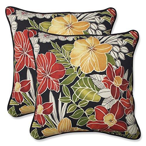 Pillow Perfect Outdoor Clemens Throw Pillow, 18.5-Inch, Noir, Set of 2 ()