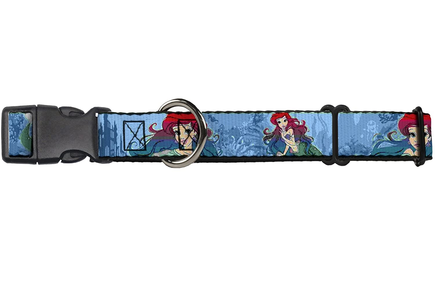 Buckle-Down Martingale Dog Collar Ariel Poses Coral & Castle bluees Reds 1  Wide Fits 15-26  Neck Size Large