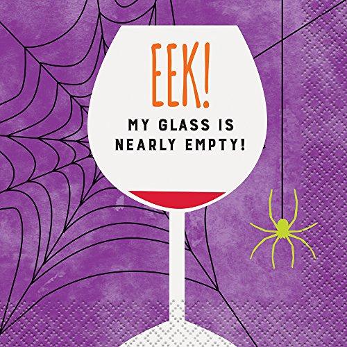 Eek Empty Glass Halloween Cocktail Napkins, (Halloween Themed Jokes)