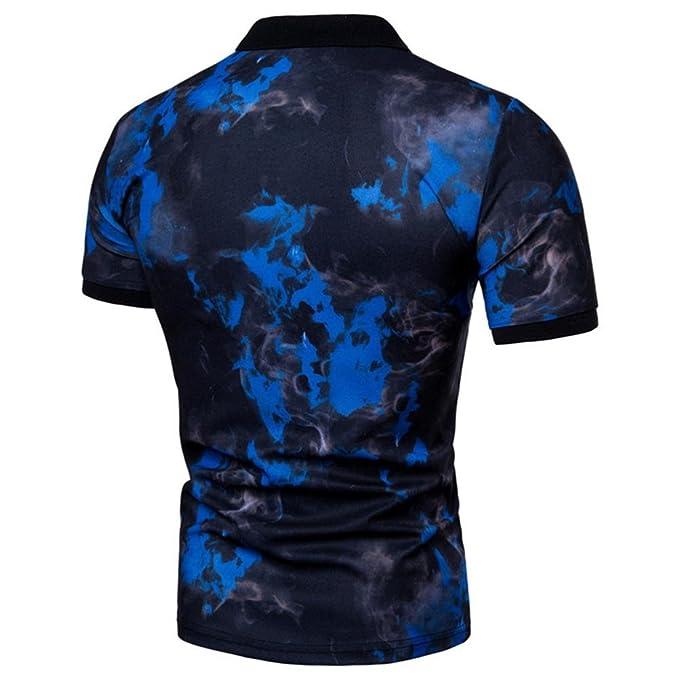Camisetas, Ling+YAN Moda Verano Ocio Confort Solapa ImpresióN Camisa Camiseta Hombre Cuello Blusa: Amazon.es: Ropa y accesorios