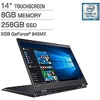 "2018 Lenovo Flex 5 14"" IPS TouchScreen FHD (1920x1080) 2-IN-1 Laptop (Intel Quad Core i5-8250U, 256GB PCIe SSD, 8GB DDR4, NVIDIA 940MX, Backlit, Type-C, FingerPrint, Windows 10 (Certified Refurbished)"