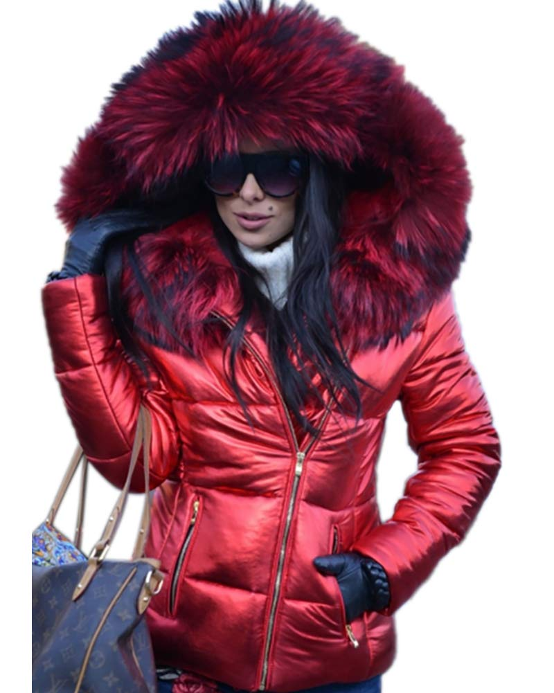 Aofur Womens Ladies Quilted Winter Coat Fur Collar Hooded Down Jacket Parka Outerwear (XXX-Large, Red)