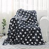 yellow throw quilt - HollyHOME 80x90 Flannel Fleece Thermal Decorative Stars Blanket Bed Quilt Sofa Throw Super Soft Warm Cozy Blankets, Dark Grey