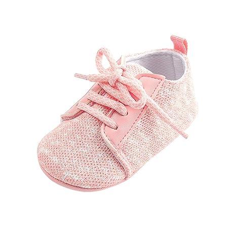 Morbuy Zapatos de Bebe Lino Primeros Pasos, Niño y Niña Recién Nacido Cuna Suela Blanda