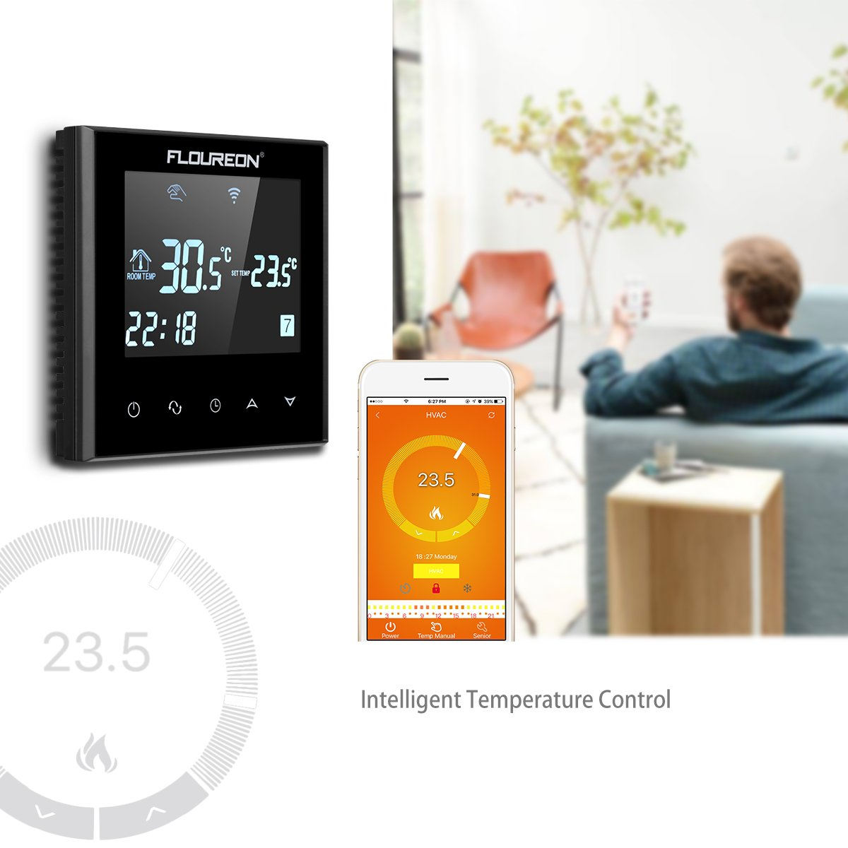 FLOUREON Smart WIFI Thermostat Heating Thermostat App Control ...