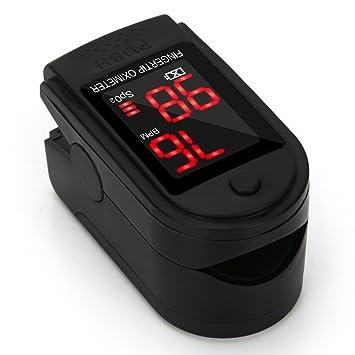 Oxímetro de Pulso Pulsómetro Dedo Digital Pulsioxímetro de Dedo Profesional con Pantalla LED, Medidor de